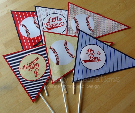 Set Of 6 Personalized Flag Centerpieces Vintage Baseball Table