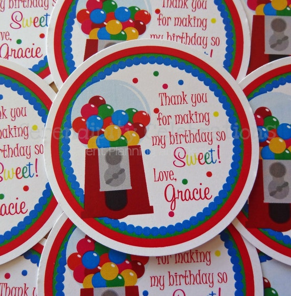 Set of 12 Personalized Favor Tags -Gumball -Thank You Tag -Gift Tag -Baby Shower -Birthday-Sticker
