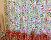MADE to ORDER--- Kumari Garden Ruffle Bottom Curtain Panels