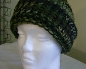 Large Adult Knit Camo Camouflage Winter Hunting Hat With Brim - Men or Women