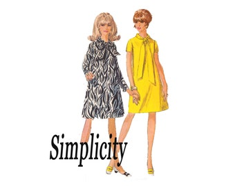60s Tent Dress Simple to Sew Jiffy UNCUT Vintage Sewing Pattern Simplicity 7388 Size 8 Bust 30 From 1967
