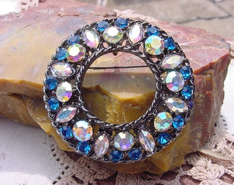 Circlet Brooch Azure Blue Crystal AB NOS Vintage Rhinestone Brooch