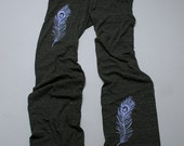 light as a feather Peacock Yoga Pants, Lounge Pants, Maternity Pants, S,M,L,XL