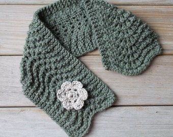 Hand knit soft moss green scarflette / rustic neck cozy / cottage chic scarf / crocheted flower brooch / winter scarf / country inspired