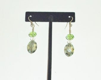 Handmade Dangle Earrings Swarovski Crystals Two Shades of Green Wedding Bride Bridesmaids Prom Party Gift Guide Women