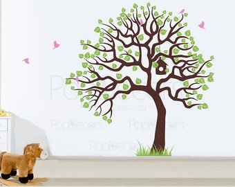Living Room Tree Wall Decals Big Tree Wall Sticker Office Wall Decal - Tree with Flying Birds  - Free Squeegee - Tree Wall Mural Decoration