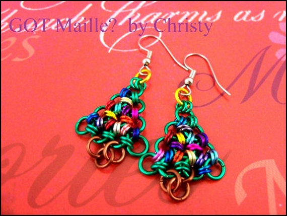 Earrings - Chainmaille Christmas Trees - Holiday - Festive - Chainmail - Chain Mail