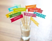 Small Flags Mix 12 pack -  12 pack - Yay! Hooray! Yippee! Woohoo! - Celebrate Collection - Drink Flags - Cupcake Toppers