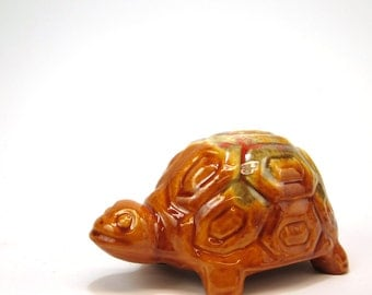 1960s drip glaze turtle bank - mid century vintage gold, green and red orange pottery - saving for a rainy day coin bank
