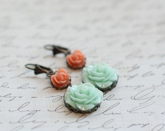 Custom Coral and Seafoam Rose Earrings - Pick from 20 Rose Colors - Bridesmaid Earrings - Coral Wedding - Seafoam Mint Earrings - Mint Green