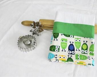 Owls Flour Sack Kitchen Towel with green stripe