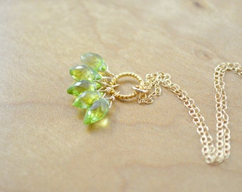 Green Gemstone Cluster Necklace - Peridot Cluster on Twisted Gold Ring Necklace, Peridot Necklace, Green & Gold Necklace, August Birthstone