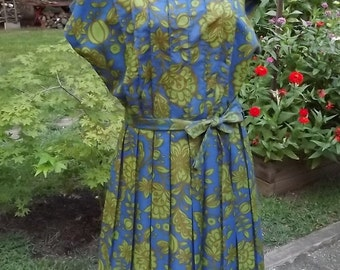 Vintage 60's Blue Green Soft Silky Dress Size 18