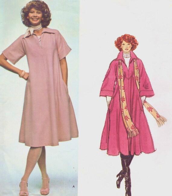 1970s Vogue Paris Original Sewing Pattern 1263 Chloe Womens Tent Dress, Top & Scarf Size 14 Bust 36 UnCut