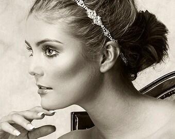 Wedding Hair Accessories, Bridal Headband, Grecian Wedding Headwrap Halo, Swarovski Crystal Cluster Headband, Vintage Style Jewelry (BELLE)