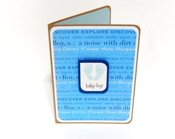 CLEARANCE-Baby Boy Card with Matching Embellished Envelope