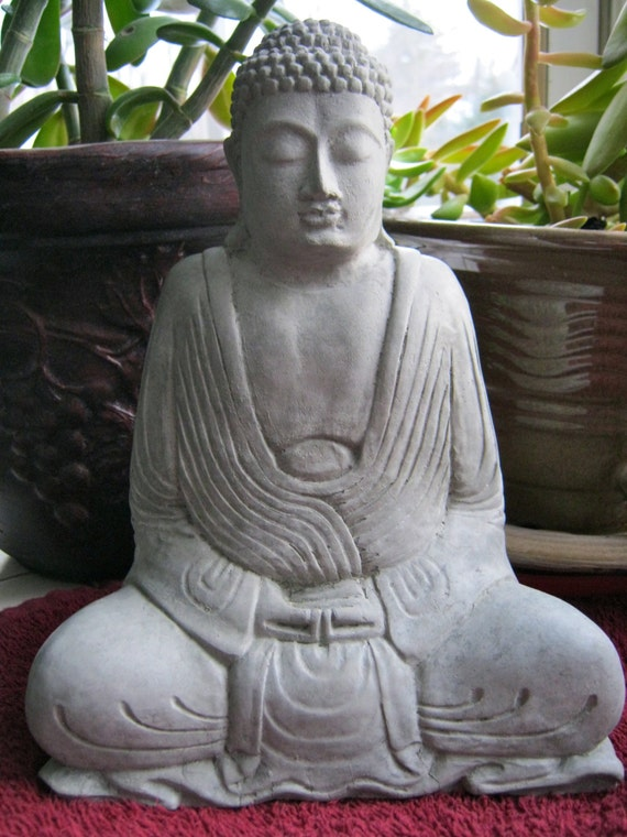 buddha statue robed buddhist concrete statues meditating. Black Bedroom Furniture Sets. Home Design Ideas