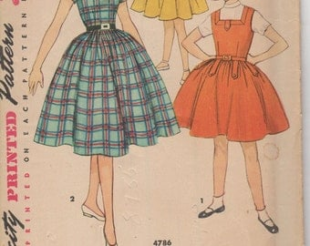 """Sz 8-1950's Girl's Dress and Jumper Simplicity 4786 Breast 26"""""""