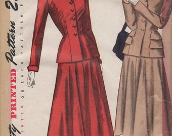 FACTORY FOLDED 1940's Misses' Two-Piece Suit Simplicity 2324 Size 14 Bust 32