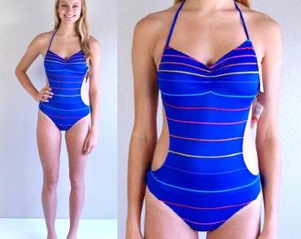 nwt vtg 80s blue RAINBOW STRIPED cut out MONOKINI xs/s swimsuit retro deadstock bathing suit swimwear one piece