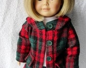 American Girl Doll Coat - Red & Green Plaid Hooded Coat
