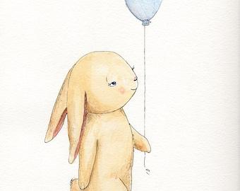 Cute Original Watercolor and Ink Illustration, Boy Bunny
