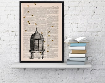 Bumble bee hive , Bee hive Dictionary art,  Print on Dictionarypage- Wall Art Home Decor- Bee hive Art- Wall hanging giclee print BPBB029b