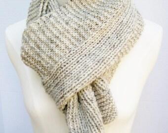 Wool simple rib garter stitch scarf hand knit oatmeal tweed