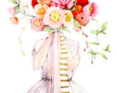 White Dress and Summer Bouquet - Art Watercolor Painting Print
