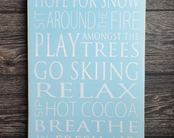 Cabin Rules Typography Art Sign -Winter - Distressed - Option to Pick Own Colors