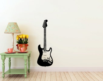 Electric Guitar vinyl Wall DECAL-  interior design, sticker art, room, home and business decor