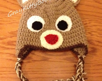 Reindeer Hat with braids - All Sizes