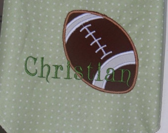 Personalized Sports Theme Baby Receiving/Swaddle Blanket, Football