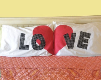 LOVE Heart His and Hers Pillow cases