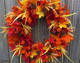Fall Wreath - Fall / Autumn Wreath - Fall Wreath in Bright Colors with Berries Wheat and Pine Cones - Thanksgiving Autumn Fall Decor