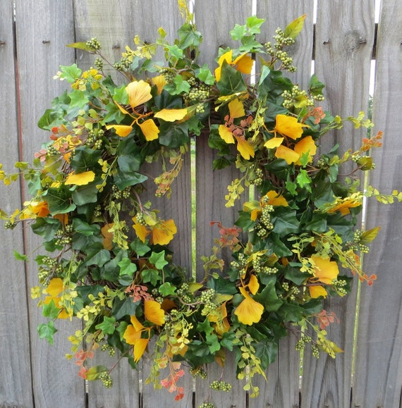 Fall Wreath - Fall / Everyday Ginkgo Leaf Wreath -  Green and Yellow Natural Wreath with Ginkgo and Berries