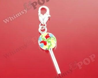 1 - CLEARANCE SALE Kawaii Silver Tone Enamel Rainbow Candy Lollipop Charm, Lollipop Charm, 43mm x10 mm (5-4G)