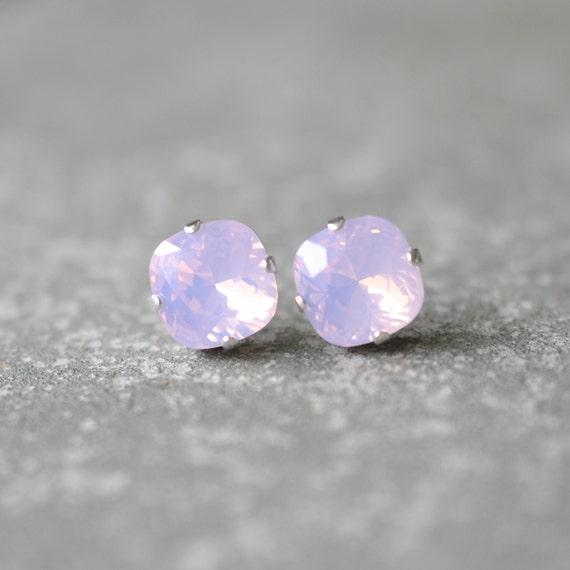 Pink Opal Swarovski Crystal Earrings Light Pink Opal Stud Earrings Opal Studs Clip onsRounded Square Studs Mashugana