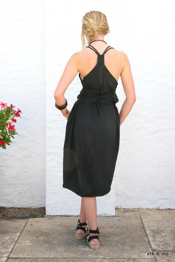 Organic Cotton Swan Dress - Black *FREE SHIPPING*