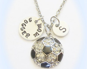 Personalized Soccer Mom Initial Necklace, Soccer Jewelry, Soccer Gift