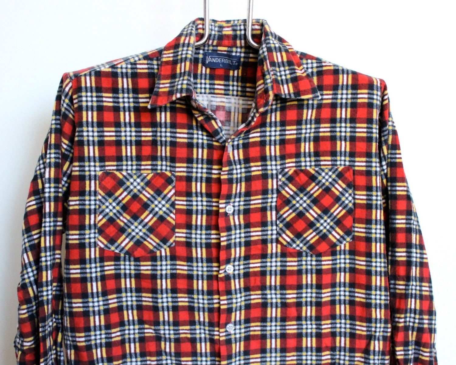 Red Plaid Flannel Shirt Mens Extra Large By Beachwolfvintage
