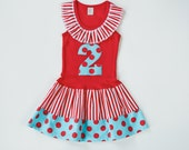 Circus Birthday Outfit Red and Aqua Girls Party Dress Polka Dot and Chevron Baby Toddlers Kids Clothing