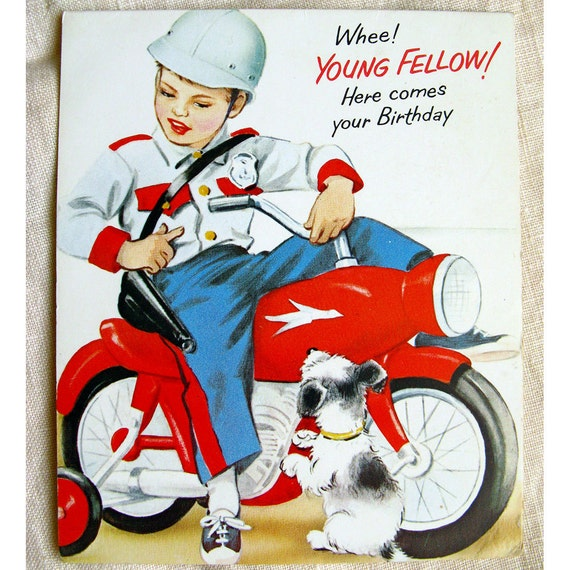 Vintage 1950s Boys' Birthday Card Motorbike Cop Norcross