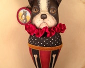 Folk Art  One of a Kind French Bulldog Ornament collectable Primitive Vintage Style Art  Doll Hafair
