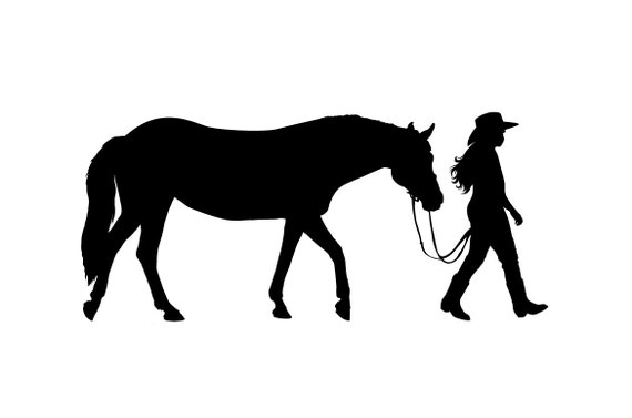 Western Horse and Rider wall decal - cowgirl