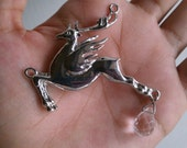 Silver-Winged Stag Pendant w/ Hanging Crystal