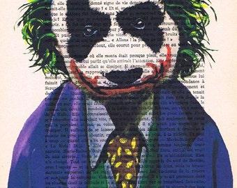 The Joker panda: Print Art Poster Illustration Acrylic Painting Animal Portrait Wall Decor Wall Hanging Wall Art Drawing Glicee batman