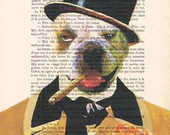 WC Fields Bulldog: Print Poster Illustration Acrylic Painting Animal Portrait Wall Decor Wall Hanging Wall Art Drawing Glicee coco