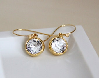 Swarovski Crystal Earrings with Clear Crystals - Brithstone Jewelry - April's Birthstone