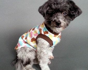 Dog Tank Top or T Shirt Knit Pajamas with Cupcakes Design, Dog Sleeveless T Shirt